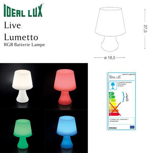 %Sale% - Ideal Lux Live Lumetto - RGB Batterie Lampe Outdoor
