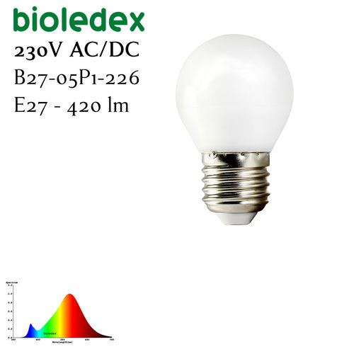 Bioledex TEMA LED Birne 5 Watt 420 Lumen Warmweiss - E27 DC + Notstrom